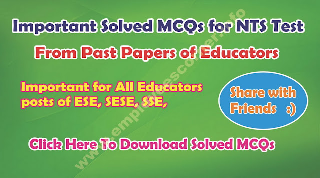 MCQs from Past Papers of NTS Educators