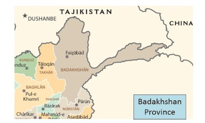 Map of Badakhshan Province Afghanistan