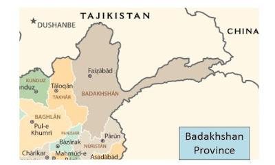 Map of Badakhshan Province Afghanistan