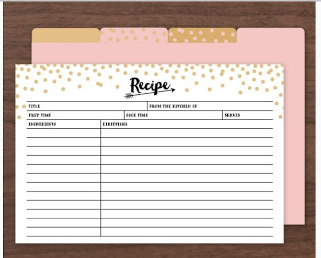 Gold Confetti Recipe Cards