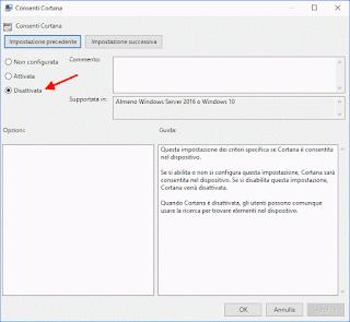 Windows 10 - Editor Criteri gruppo locali, disattiva Cortana 2