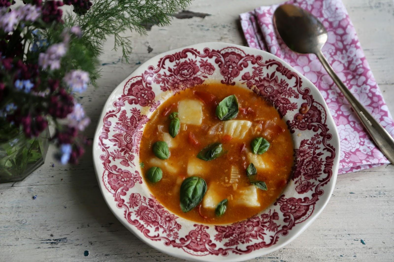 Gluten free gnocchi in tomato/basil broth