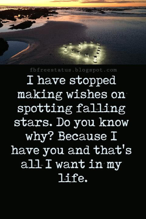 Love Text Messages, I have stopped making wishes on spotting falling stars. Do you know why? Because I have you and that's all I want in my life.