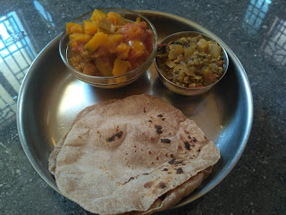 Whole Wheat Phulkah, Green gram sprouts dhal, Tender pumpkin masala