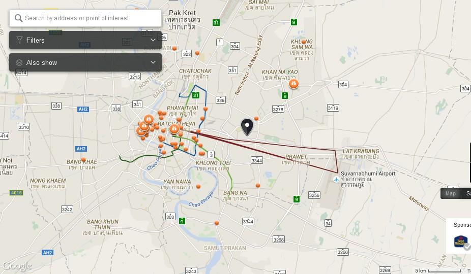 Kannikar Spa Bangkok Map - Tourist Attractions in Bangkok
