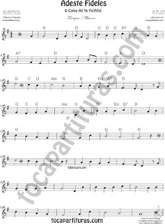 Trompeta y Fliscorno Partitura de Adeste Fideles Sheet Music for Trumpet and Flugelhorn O come All Ye Faithful Music Scores