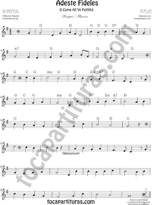 Adeste Fideles Sheet Music for Trumpet and Flugelhorn O come All Ye Faithful Music Scores