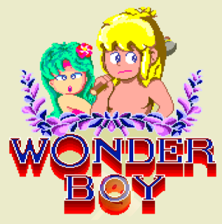 Captura de pantalla del Arcade de 1986 de SEGA, Wonder Boy. Se puede observar a Wonder Boy junto a su novia Tania