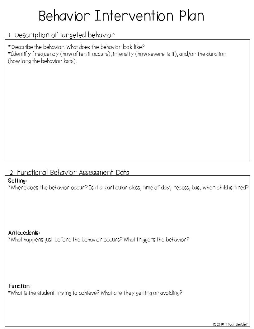 behavior plan Elementary school student behavior plans  daily or weekly student behavior  this format allows both students and staff to easily reflect on current behavior.