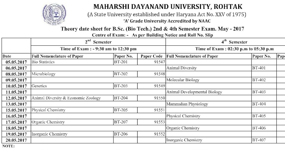 Mdu theory date sheet for b sc bio tech 2nd 4th for Rgpv time table 6th sem 2015