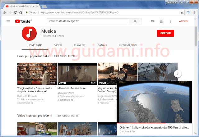 YouTube su Chrome con video Picture-in-Picture