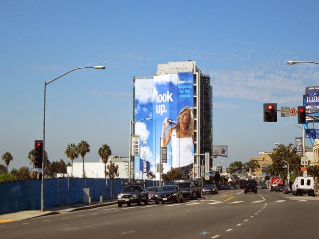 Giant Look Up Smartwater billboard Sunset Strip