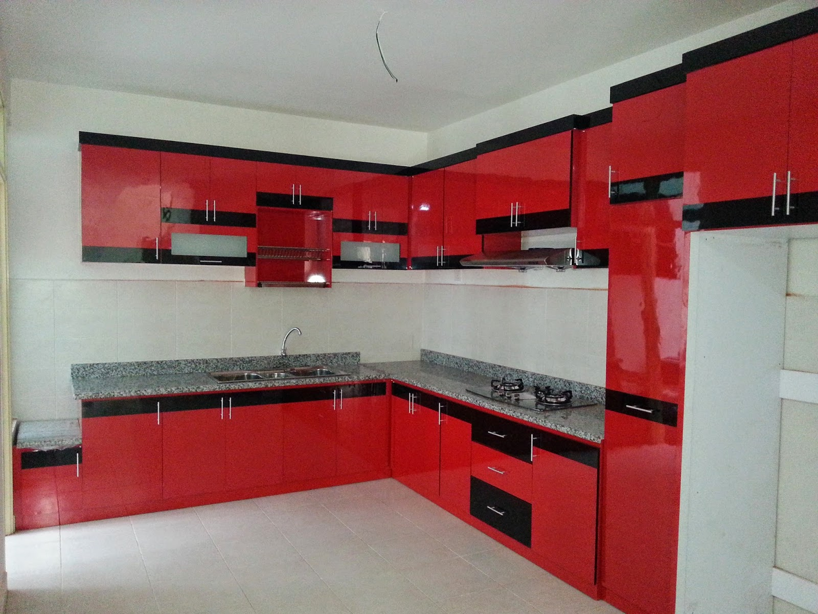Kabinet Dapur Hitam Merah Desainrumahid Com