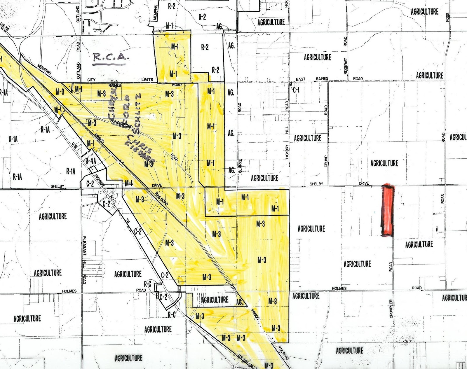this map shows the proposed mobile home park in red in relative close proximity to the industrially zoned areas in yellow to its west which lined lamar