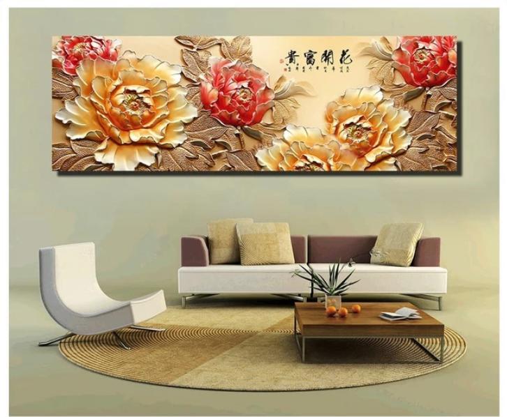 Tranh treo tường hoa mẫu đơn đẹp và sang trọng