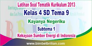 Soal Tematik Online Kelas 4 SD Tema 9 Subtema 1 Kekayaan Sumber Energi di Indonesia dan Kunci Jawaban