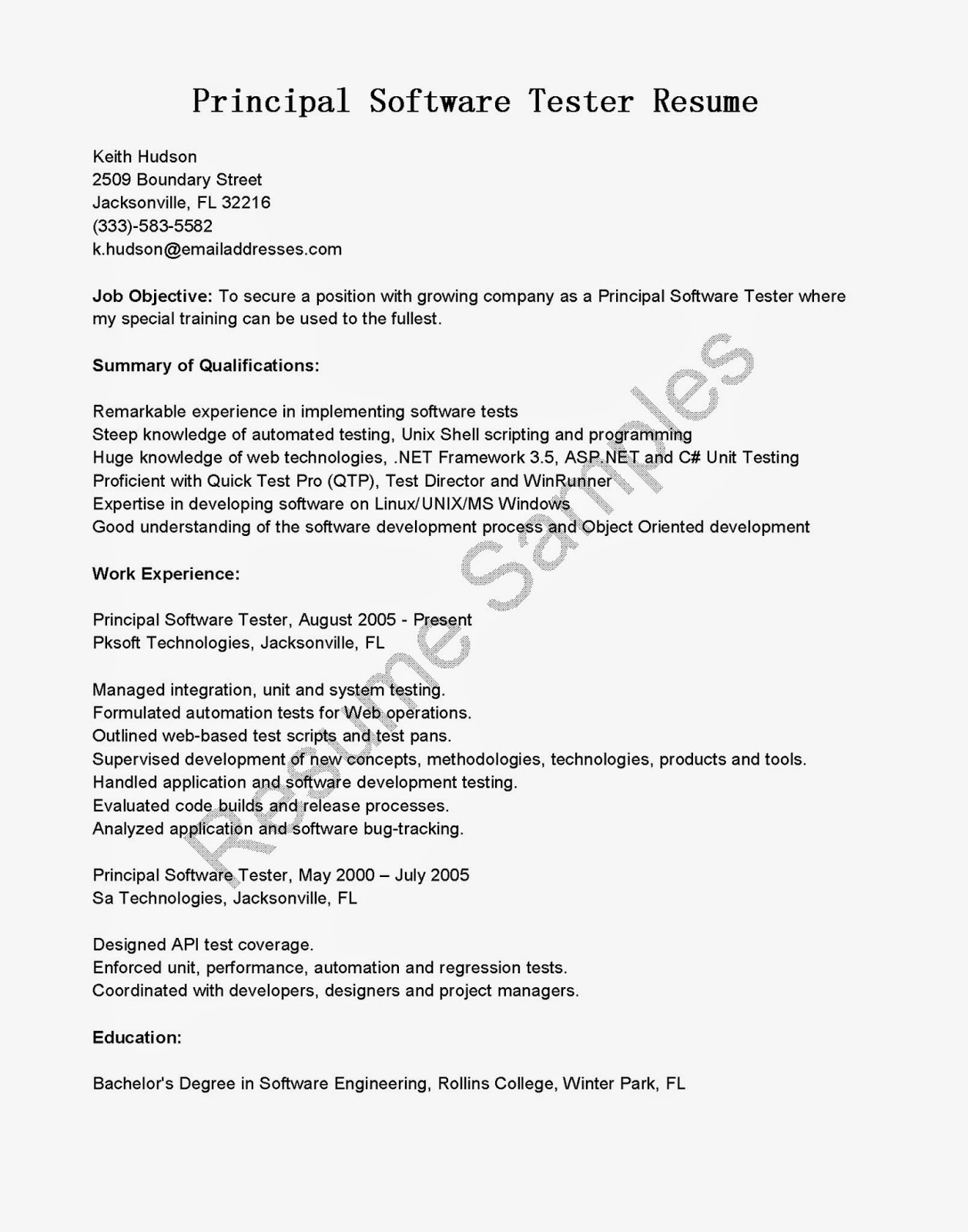 sample resume software engineer years experience resume - Sample Resume Software Tester