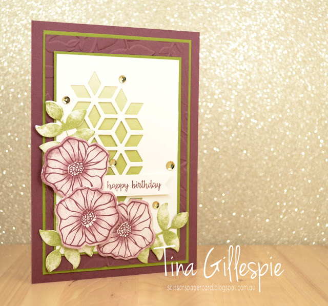 scissorspapercard, Stampin' Up!, Oh So Eclectic, Eclectic Layers, Happy Birthday Gorgeous, Colour Theory DSP, Layered Leaves
