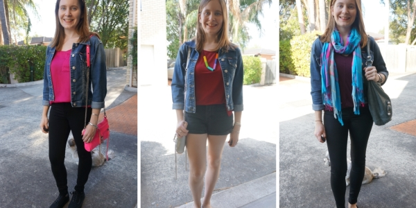 denim jacket and black jeans and shorts: double denim SAHM style | Away From The Blue