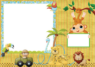Jungle Babies  Free Printable Invitations, Labels or Cards.