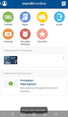 hasil dari Screenshot Aplikasi Mandiri Mobile Banking menggunakan screen cast ke Layar Laptop