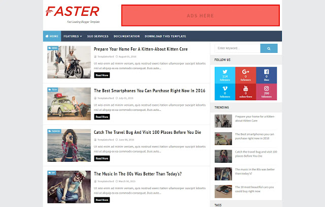 Faster Responsive Personal Blog Viral Niche Blogger Template Theme