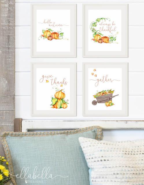 Fall Pumpkin Wall Art Printables