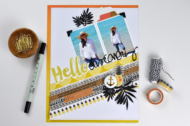 "'Hello Discovery"" scrapbooking layout by Jen Gallacher (includes #scrapbookprocessvideo). #scrapbooking"