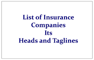 List of Important Insurance Companies-their Heads and Taglines