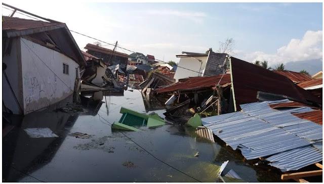 Rumah tenggelam karena liquifaksi gempa Palu 2018