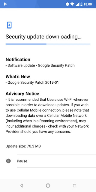 Nokia 3.1 plus January 2019 Android Security patch
