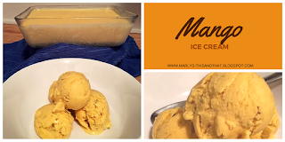 No machine Homemade Ice Cream made with mangoes, pistachio and cardamom.