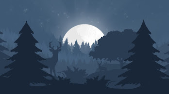 Minimalist, Nature, Forest, Night, Landscape, Moon, Silhouette, Digital Art, 4K, #37