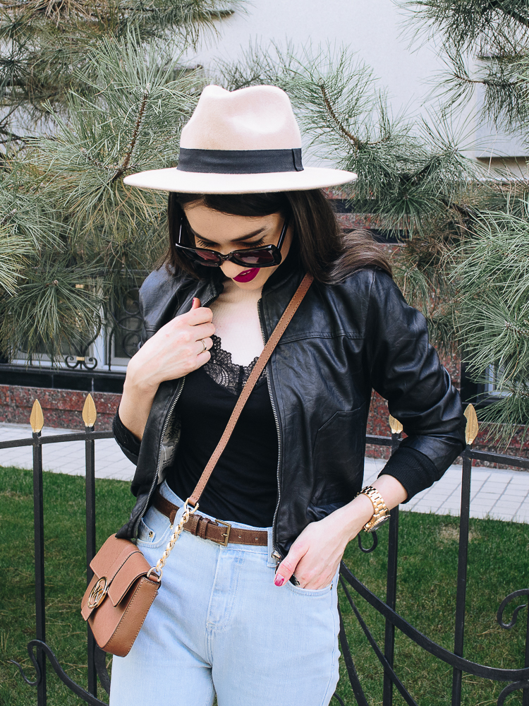 fashion blogger diyorasnotes diyora khalilova beige hat asos mom jeans lingerie top bomber jacket loafers