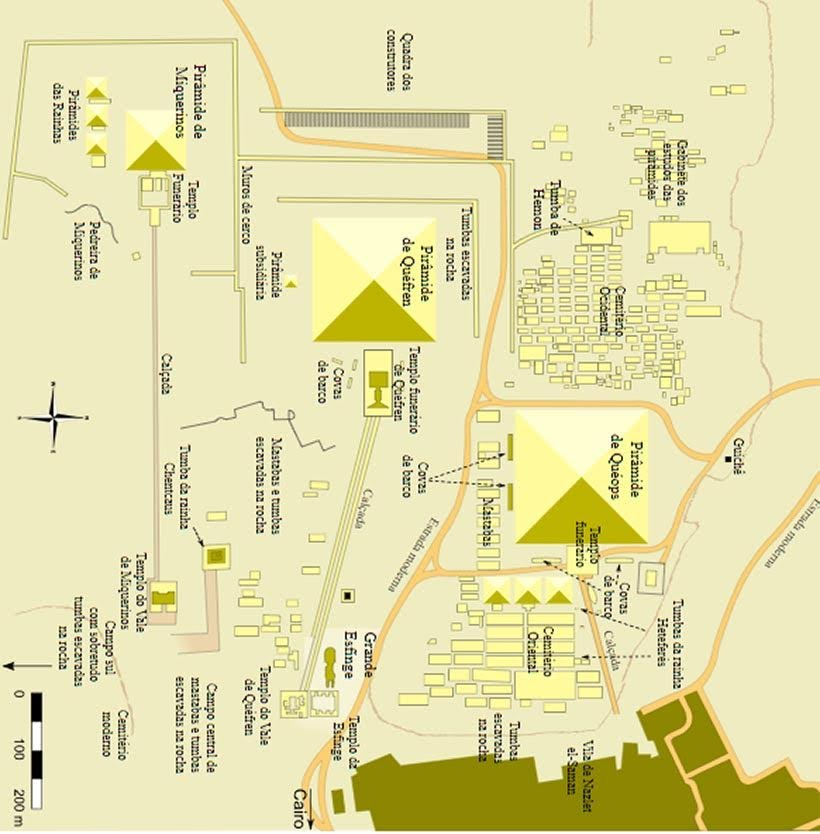 Mapa do Complexo de Gizé - Pirâmides do Egito por dentro