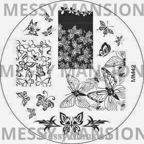 Lacquer Lockdown - Messy Mansion Nail Art stamping plates, MM34, MM35, MM40, MM42, nail art stamping blog, Messy Mansion, nail art stamping, new nail art stamping plates 2014, new nail art image plates 2014, new nail art plates 2014, diy nail art, cute nail art idea, indie nail art stamping plates,