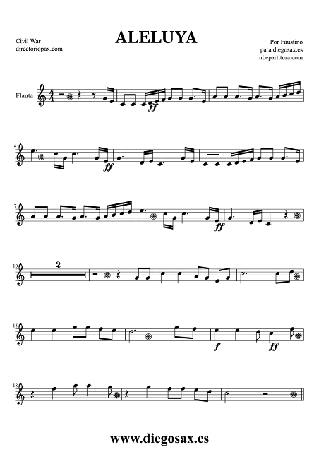 Partitura de Hallelujah (Aleluya) para Flauta Travesera, flauta dulce y flauta de pico de la Guerra Civil Americana Music Score Flute and Recorder Sheet Music American Civil War Partitura Himno Nacional de Estados Unidos aquí