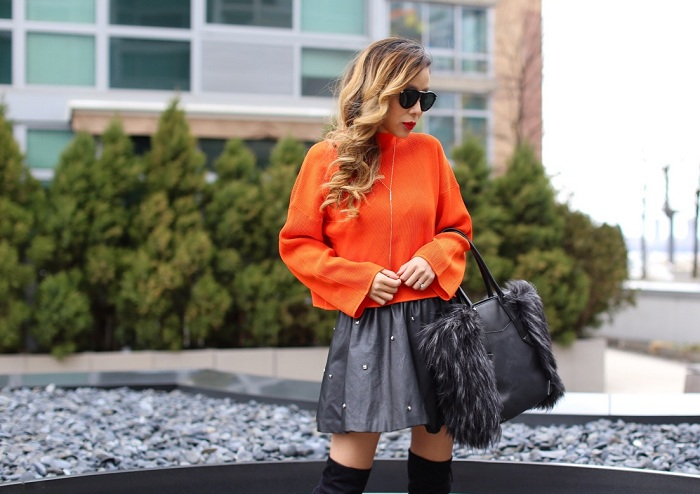 Topshop Funnel Neck Ribbed Crop Top, steve madden gorgeous over the knee boots, kendra scott earrings, botkier cocorocha paris tote, karen walker harvest sunglasses, spring outfit ideas, nyc street style, faux fur leather skirt