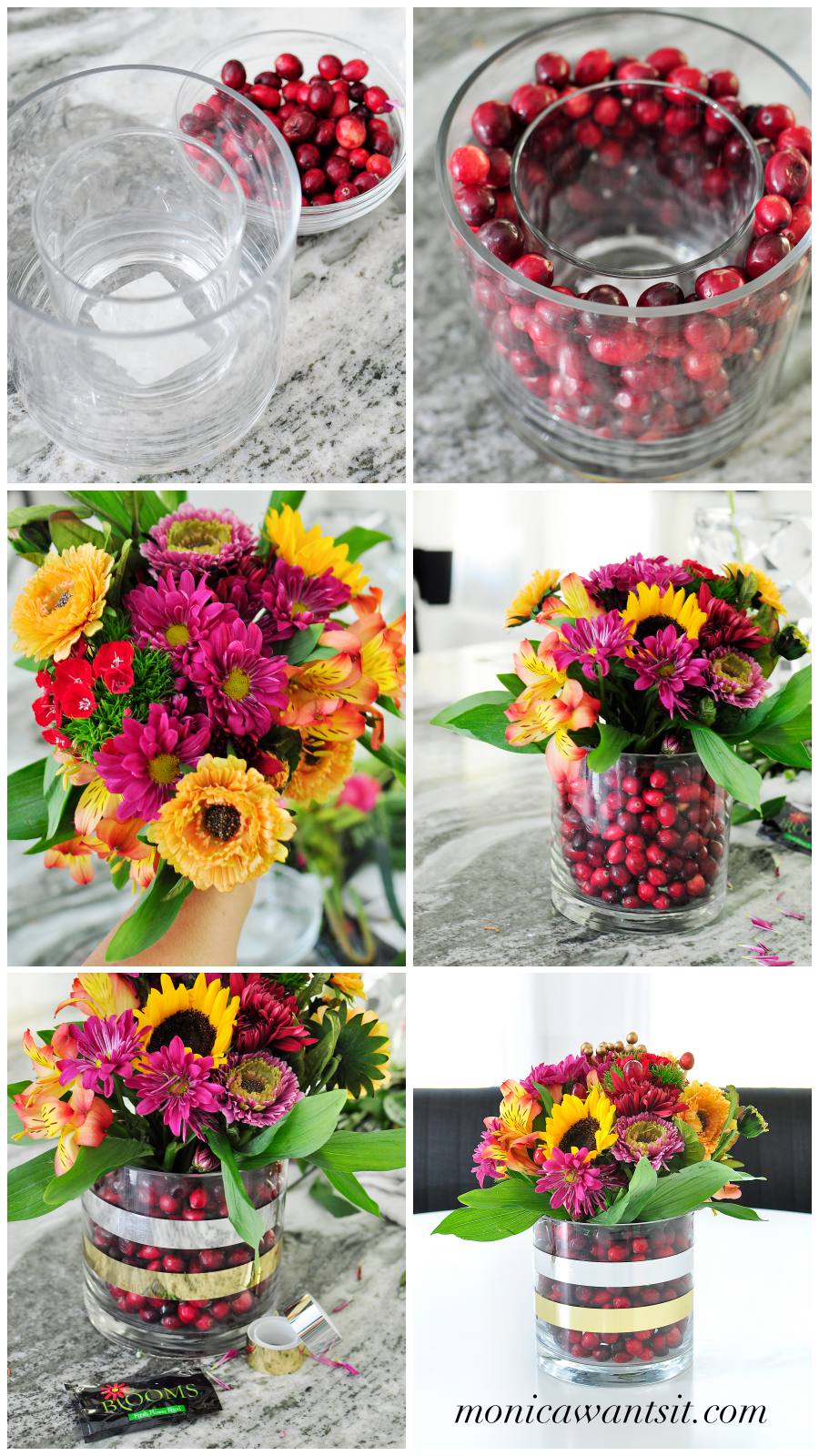 A seasonal mixed grocery store bouquet plus some fresh cranberries makes for a showstopping floral centerpiece that will add a festive touch to any holiday tablescape.