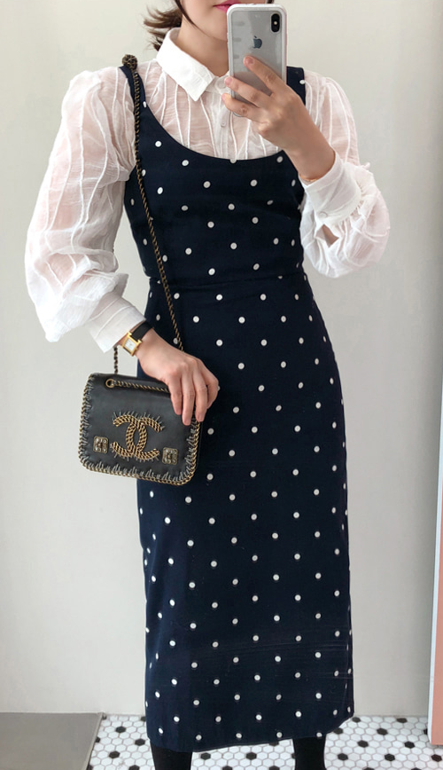 Polka Dot Sleeveless Midi Dress