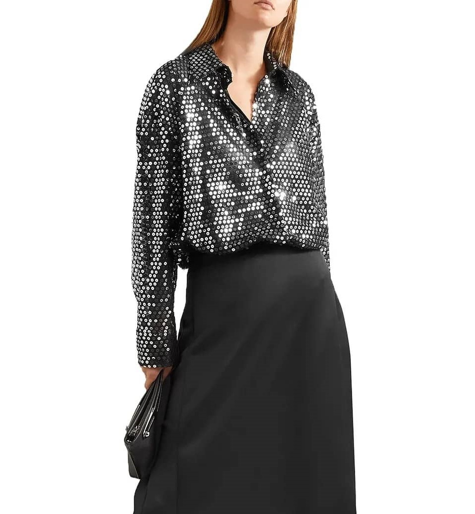 sequined tulle shirt