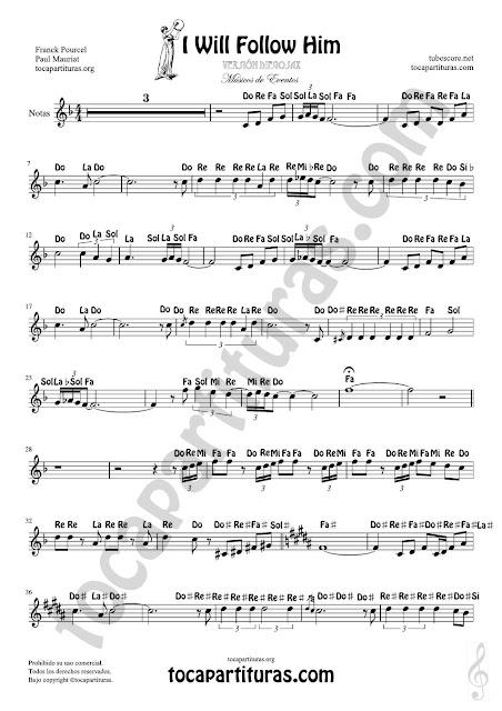 Partitura Fácil con Notas en Letras Yo le seguiré (I will follow him) para Flautas, Violín, Saxofones, Clarinetes, Cornos, Trompetas y instrumentos en Clave de Sol Spanish Notes Sheet Music for Treble Clef