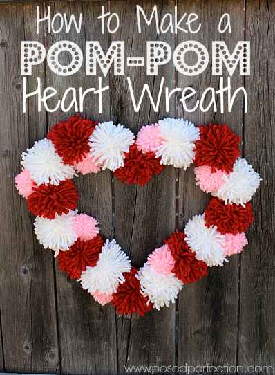 How to Make a Pom-Pom Heart Wreath from Posed Perfection | Your Turn to Shine Link Party Feature on anderson + grant