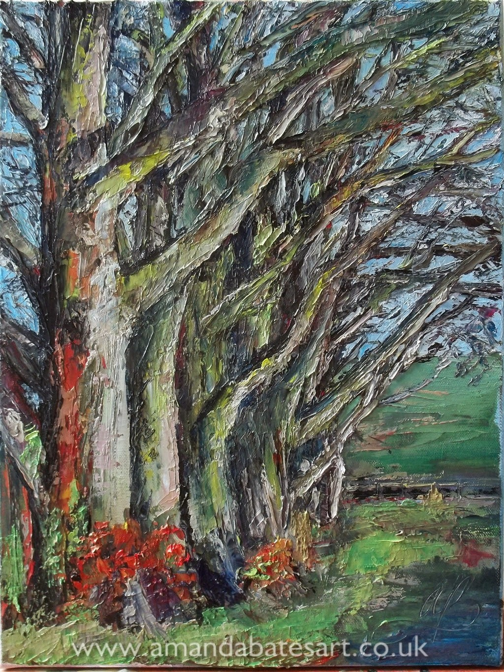 Impasto Oil painting of The Beeches, Litchfield Down, North Hampshire. Painted with a palette / painting knife by landscape artist Amanda Bates of Kingsclere