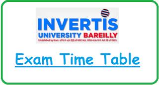 Invertis University Exam Date Sheet 2020