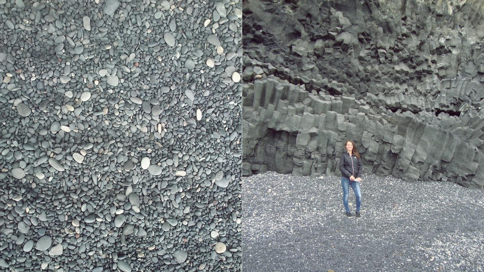 Reynisfjara, czarna plaża, islandzka plaża, Islandia, kamyki na plaży