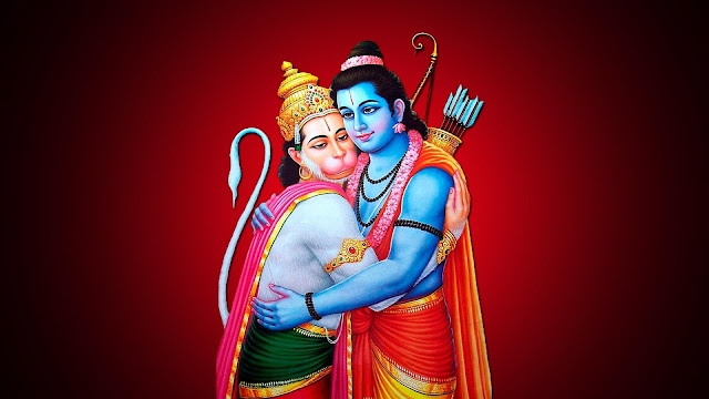 Best Lord Hanuman With Ram  Wallpaper In Red Background