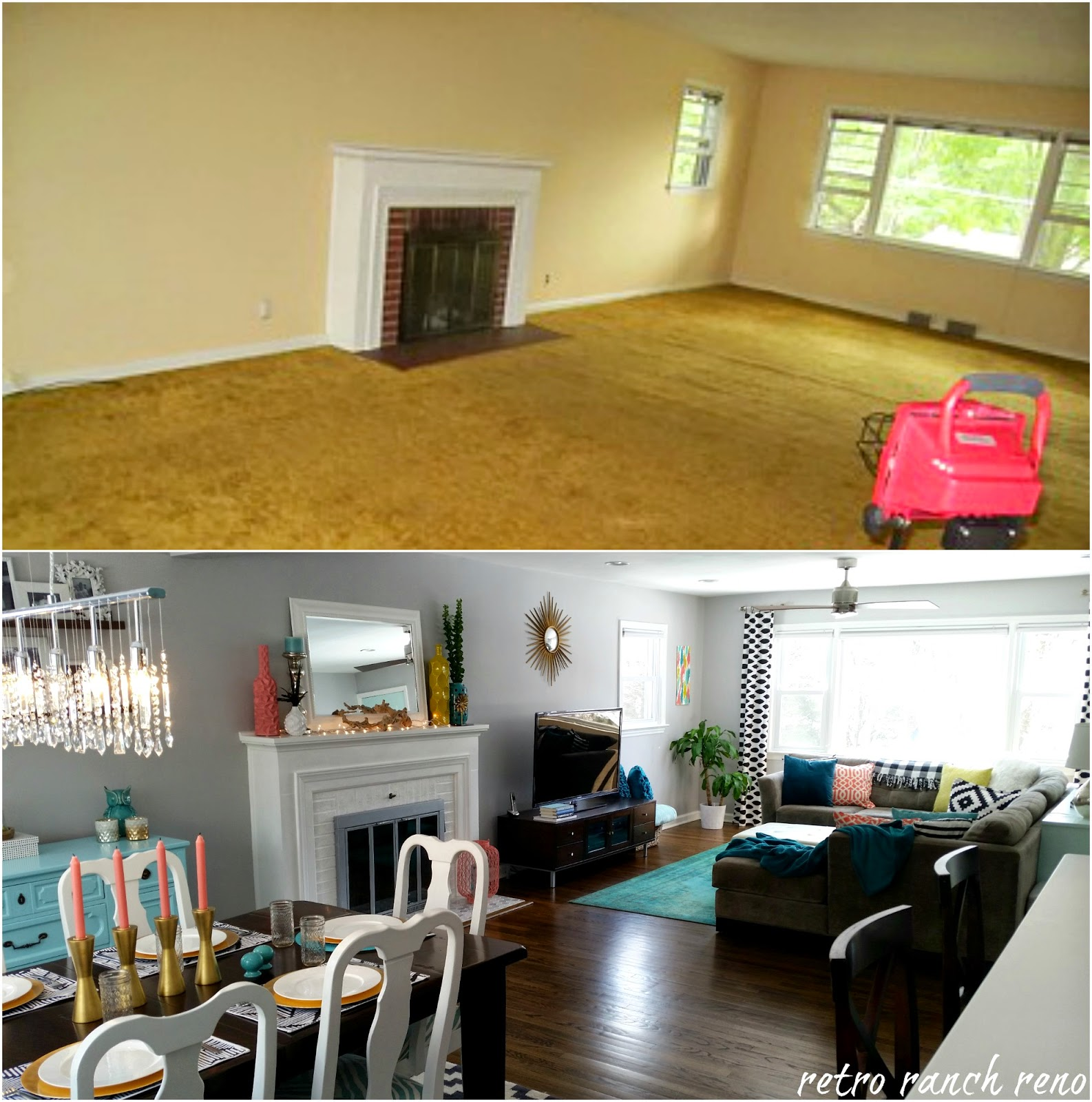 Retro ranch reno our rancher before after the dining - Living room renovation before and after ...