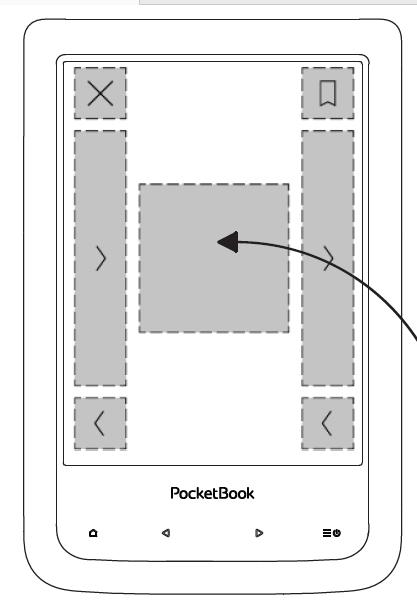 PocketBook Aqua 2 – układ stref dotyku według instrukcji