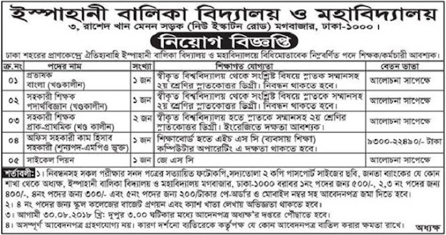 Ispahani Girl's School and College Job Circular 2018